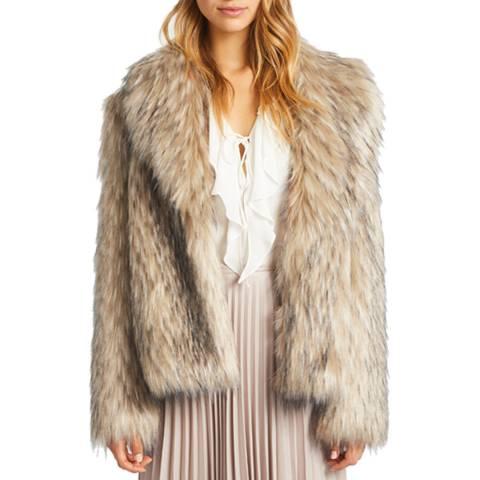Grace & Oliver Beige Textured Faux Fur Jacket