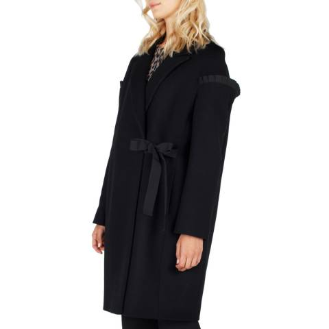 Grace & Oliver Black Tucked Sleeve Edge Coat