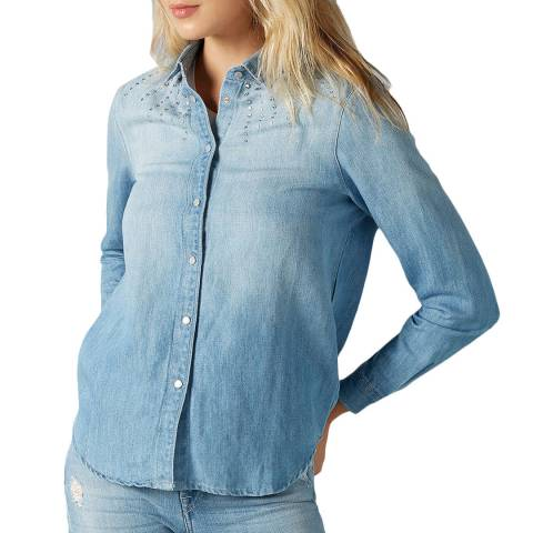 7 For All Mankind Blue Atwater Rhinestone Jean Shirt