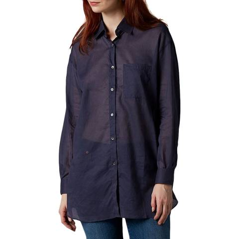 7 For All Mankind Navy Voile Oversized Shirt