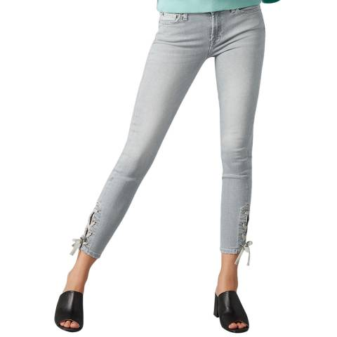 7 For All Mankind Grey Crop Lace Up Skinny Stretch Jeans