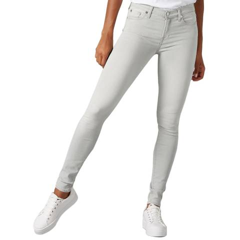 7 For All Mankind Light Grey Skinny Illusion Stretch Jeans