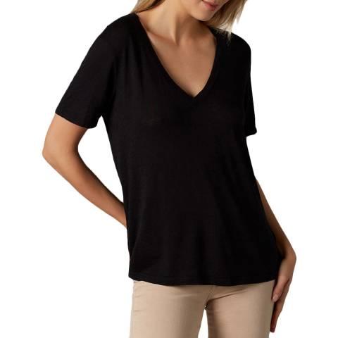 7 For All Mankind Black Slub T-Shirt