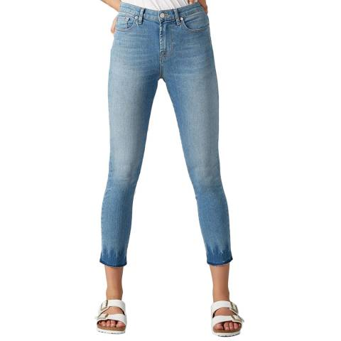 7 For All Mankind Blue Pyper Cropped Stretch Jeans