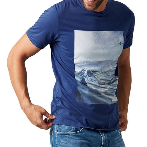 7 For All Mankind Blue Graphic Photo T-Shirt