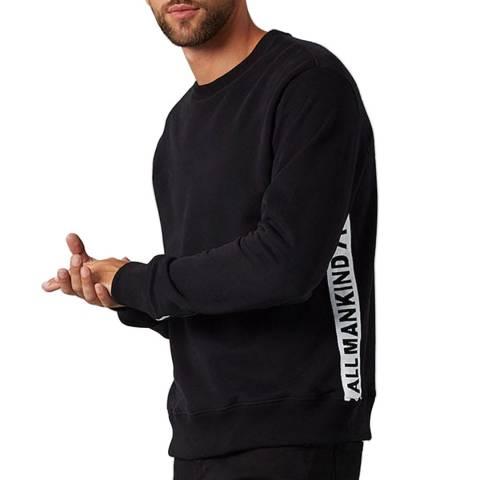 7 For All Mankind Black Cotton Tape Logo Sweatshirt