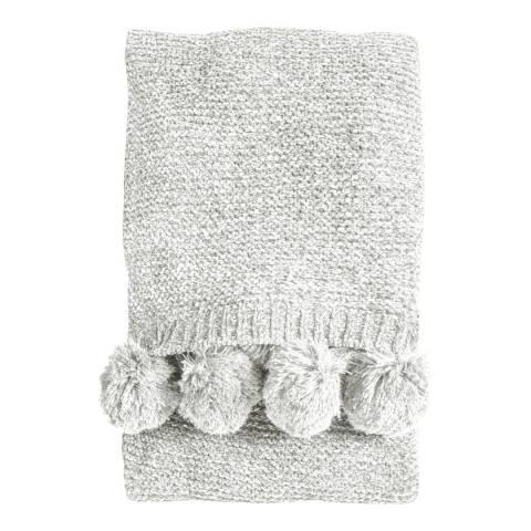 Kilburn & Scott Cream Knitted Pom Pom Chenille Throw 130x170cm