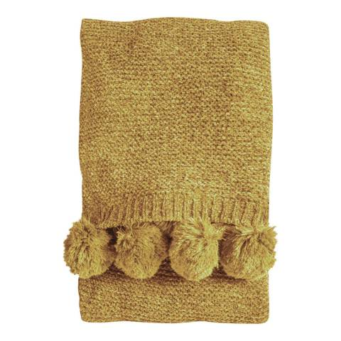 Kilburn & Scott Ochre Knitted Pom Pom Chenille Throw 130x170cm