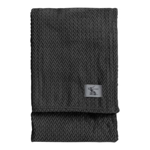 Gallery Charcoal Chevron Flannel Fleece Throw 140x180cm
