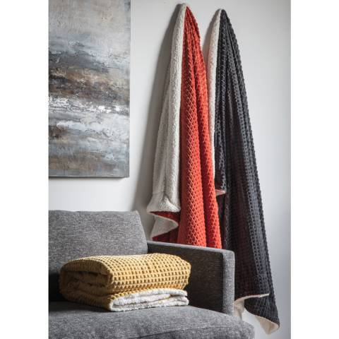 Gallery Charcoal Cubic Embossed Sherpa Throw 150x180cm