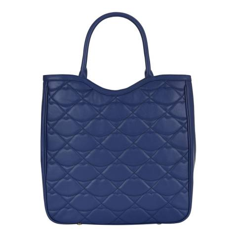 Lulu Guinness Deep Blue Quilted Lips Wanda Tote