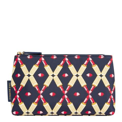 Lulu Guinness Navy Lipstick Print T Seam Makeup Bag