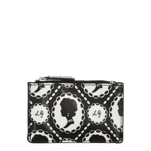 Lulu Guinness Black Cameo Print Small Laminate Pouch
