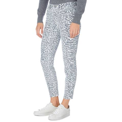 Current Elliott Grey/White Animal Print Skinny Jean