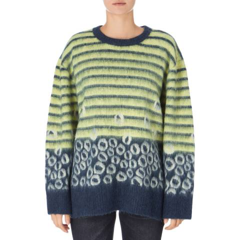 Current Elliott Navy/Yellow Wes Oversized Sweater