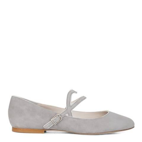 Lulu Guinness Grey Cut-out Lip Eloise Flat Shoes
