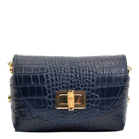 Anna Luchini Navy Leather Shoulder Bag