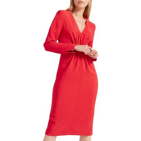 WTR London Red Felia Cady Pintuck Dress