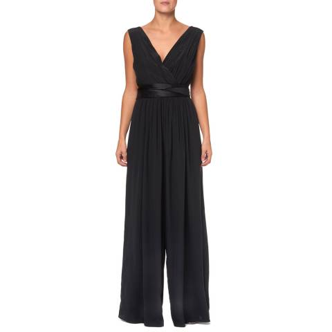 WTR London Black Marylebone Silk Wide Jumpsuit