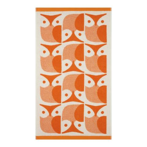 Orla Kiely Owl Pair of Bath Towels, Papaya
