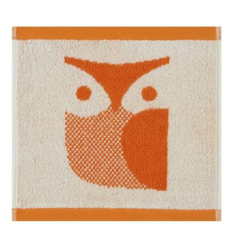 Orla Kiely Owl Pair of Face Cloths, Papaya