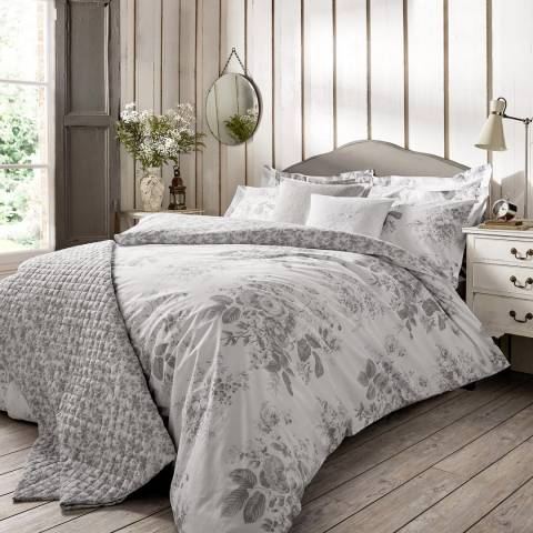 Cabbages & Roses Darcy Rose Double Duvet Cover, Grey