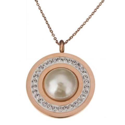 Liv Oliver Rose Gold Pearl & Crystal Disc Necklace