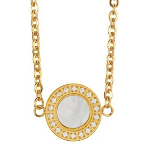 Liv Oliver Gold & Mother of Pearl Halo Disc Necklace