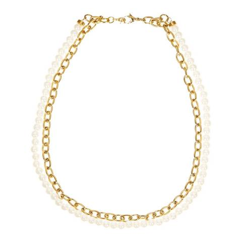 Liv Oliver Gold Link Pearl Layer Necklace