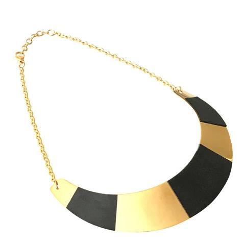 Liv Oliver Gold & Leather Collar Necklace