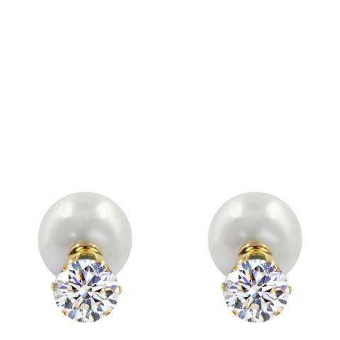 Liv Oliver Gold Pearl & Crystal Double Sided Earrings