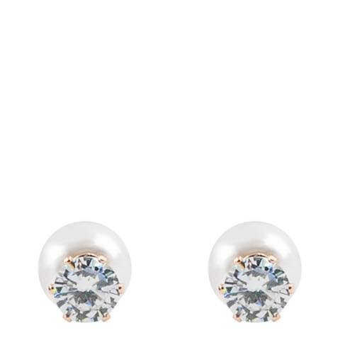 Liv Oliver Rose Gold Pearl & Crystal Double Sided Earrings