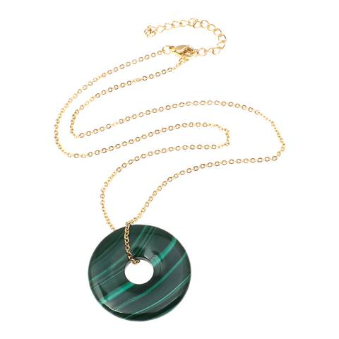 Liv Oliver Gold Malachite Eternity Necklace