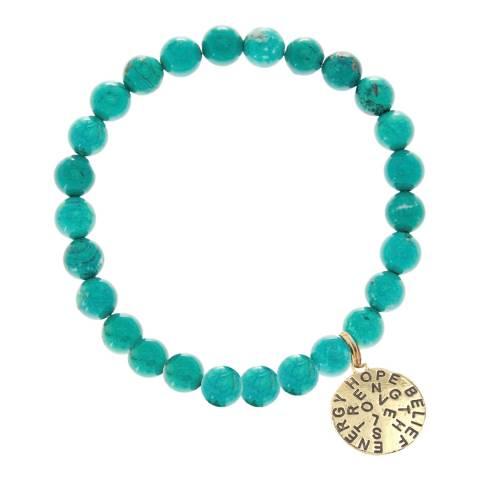 Liv Oliver Gold Inspirational Turquoise Charm Bracelet
