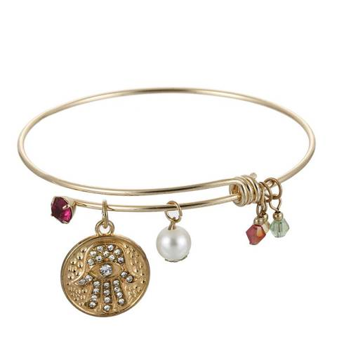 Liv Oliver Gold Hamsa Charm Pearl Bangle