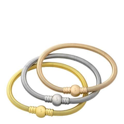 Liv Oliver Gold Plated Tri Color Bracelet Set