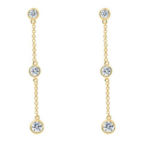Liv Oliver Gold Three Stone Cubic Zirconia Drop Earrings