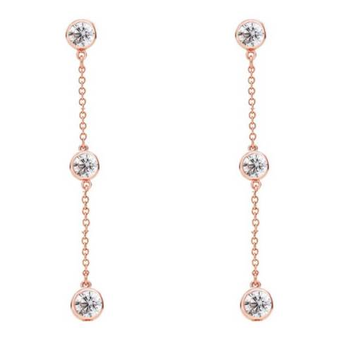 Liv Oliver Rose Gold Three Stone Cubic Zirconia Drop Earrings
