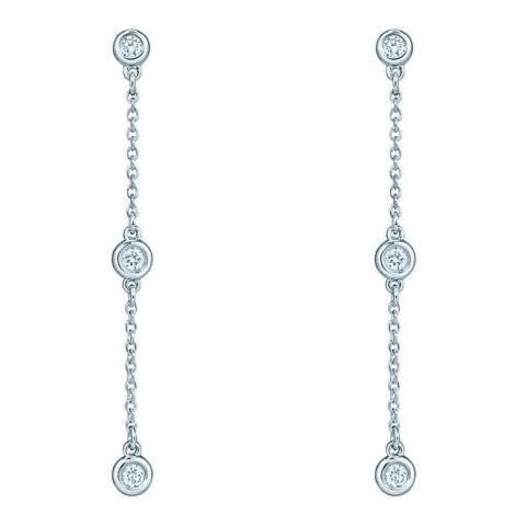 Liv Oliver Silver Three Stone Cubic Zirconia Drop Earrings
