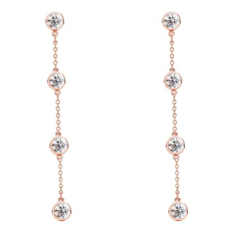 Liv Oliver Rose Gold Cubic Zirconia Drop Earrings