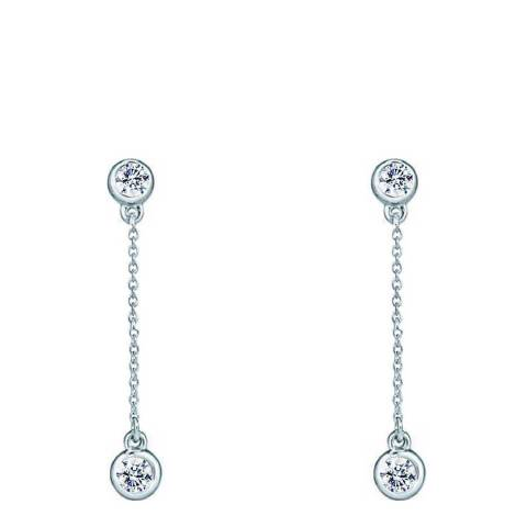 Liv Oliver Silver Cubic Zirconia Stone Drop Earrings