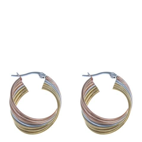 Liv Oliver Gold Tri Colour Hoop Earrings