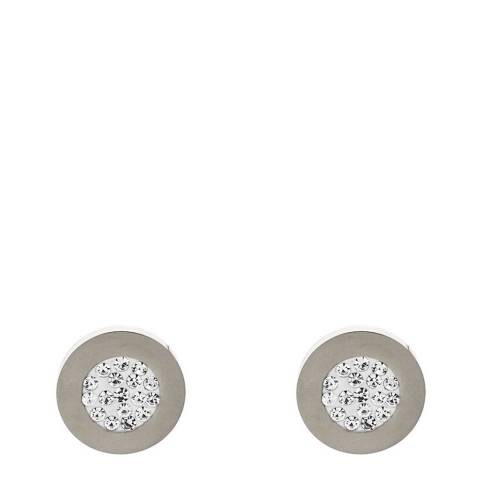 Liv Oliver Silver Plated Multi Crystal Disc Earrings