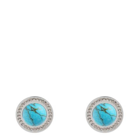 Liv Oliver Silver Turquiose & Crystal Halo Earrings