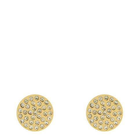 Liv Oliver Gold Pave Crystal Disc Earrings