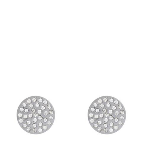 Liv Oliver Silver Pave Crystal Disc Earrings