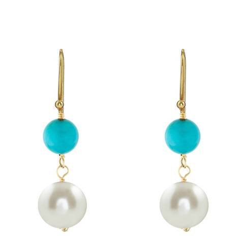 Liv Oliver Gold Turquoise 7 Pearl Drop Earrings