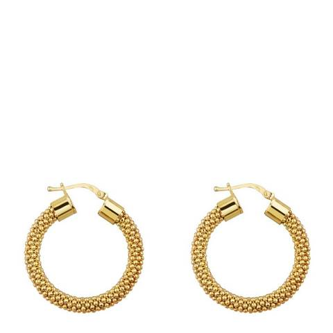Liv Oliver Gold Plated Textured Hoop Earrings