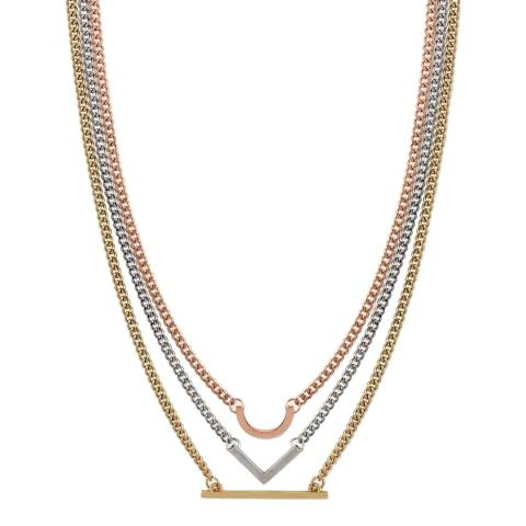 Liv Oliver Gold Tri Colour Geometric Necklace