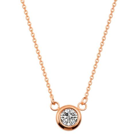Liv Oliver Rose Gold Solitaire Cubic Zirconia Necklace